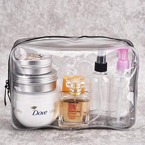 4 Piezas Bolsas Portátil de Maquillaje de PVC, Neceser Transparente Impermeable con Cremallera, Mujer Bolsa de Cosmético Organizador para cosméticos Viajes baño y Almacenamiento, Multi-tamaños