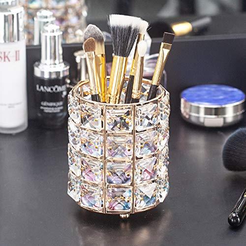 Ahagut Almacenamiento de brochas de Maquillaje Soporte de brochas de Almacenamiento de Maquillaje Maceta Organizador para Escritorio Oficina Decoración del hogar Contenedor (Dorado)