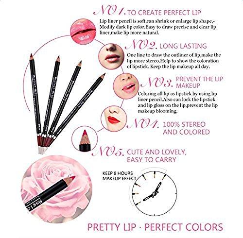 Almondcy-Lápiz Delineador Perfilador de Labio,Juego de 12 Colores, Profesional, permanente, con Tapa, para Maquillaje, Tamaño de Viaje (22 cm)