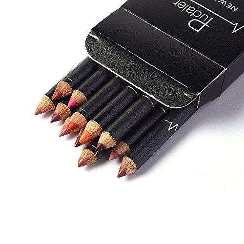 12 colores duradero labial a prueba de agua delineador de labios barra de lápiz de maquillaje lápiz labial