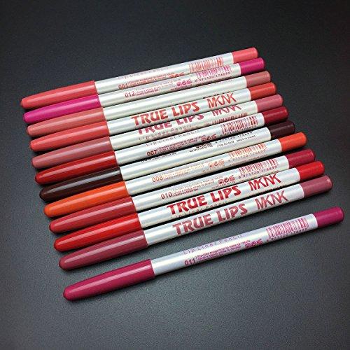 Lápices de delineador de labios a prueba de agua de 12 piezas, delineador de labios de larga duración multicolor