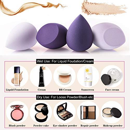 Esponja Maquillaje - Miss Gorgeous Makeup Blender Beauty Esponjas Para Maquillaje Facial Caja de Regalo (4unidades, Púrpura)