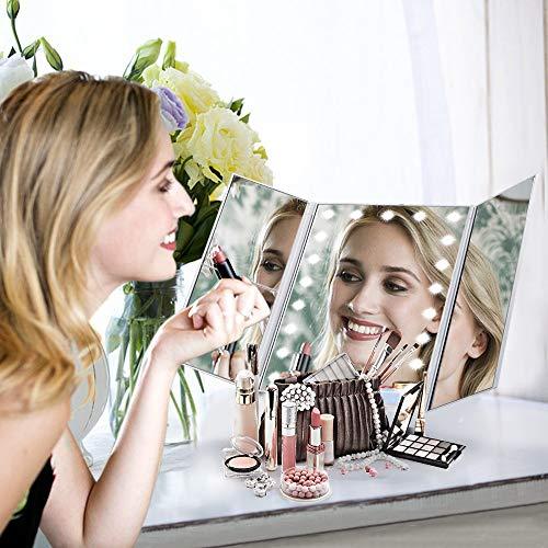 HAMSWAN Espejo de Mesa, [Regalos Populares] Espejo de Maquillaje Profesional Tríptico con Aumento 1x, 2X, 3X, Pantalla Táctil en Iluminacíon 21 Led, Espejo Carga con USB o Batería, Adjustable 180º