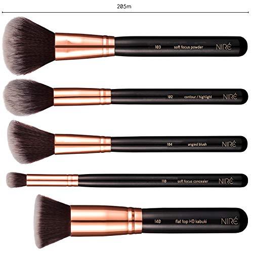 Niré Beauty Set de Brochas de Maquillaje Profesional de 15 Piezas : Brochas y Pinceles de Maquillaje, Estuche, Esponja, Limpiador, Guía, Caja de regalo