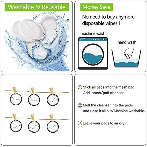 Almohadillas Desmaquillantes Reutilizables Discos De Maquillaje Bambú Algodón, Algodón Orgánico Microfibra Maquillaje Ojos Lavable, Super Suave Absorción Almohadillas De Paño De Lavado, 16 Pieza