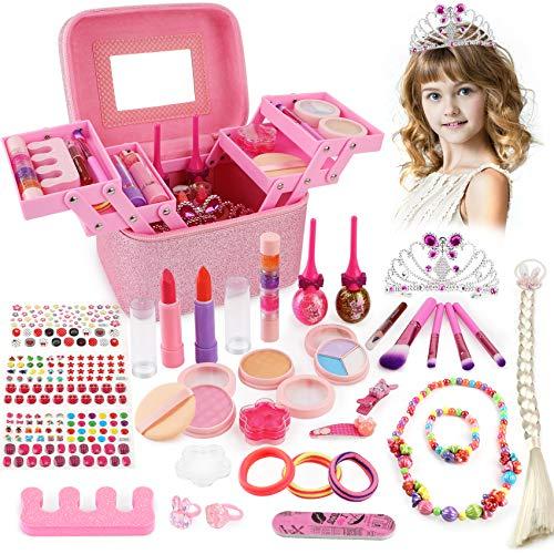 balnore Juguete de Maquillaje para niños, 34 Piezas Kit de Juguete de Maquillaje, Cosméticos Belleza Juguetes Juego de Maquillaje Lavable para Niños