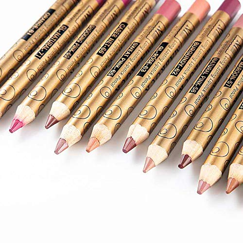 Aotoer 12 colores juego de delineador de labios profesional maquillaje lápiz labial impermeable a prueba de sudor juego de lápiz delineador de labios mate para mujeres niñas