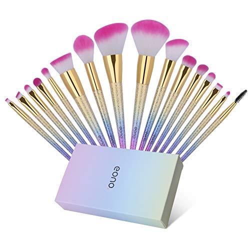 Amazon Brand - Eono Set de Brochas de Maquillaje 16Pcs Professional, Premium Pinceles de Maquillaje para Fundación Sonrojo Polvo Líquido Crema Sombra de ojos Maquillaje cepillo con caja de regalo