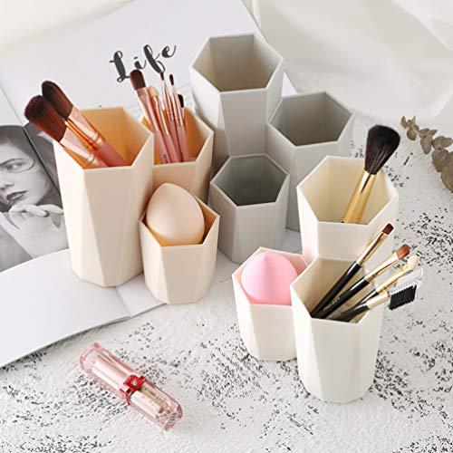 Organizador de brochas de maquillaje Toyvian, organizador de cosméticos, soporte para lápices, color blanco