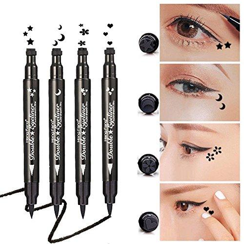 Yuccer Delineadores de Ojos Liquido, Eyeliner Waterproof Stamp, Lapiz de Ojos Impermeable Cosméticos de Maquillaje (4 piezas)