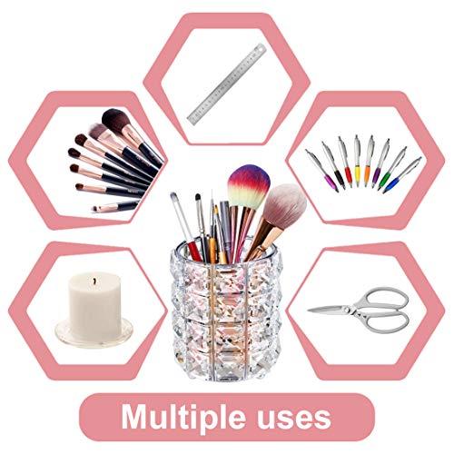 XCOZU Soporte para brochas de maquillaje, Organizador de maquillaje soporte para pinceles, Almacenamiento de maquillaje para brochas, Cejas, lápices, plata