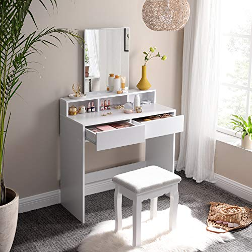 VASAGLE Tocador con Espejo Rectangular, Mesa de Maquillaje, con 2 Cajones y 3 Compartimentos de Almacenamiento, Estilo Moderno, Blanco RDT113W01