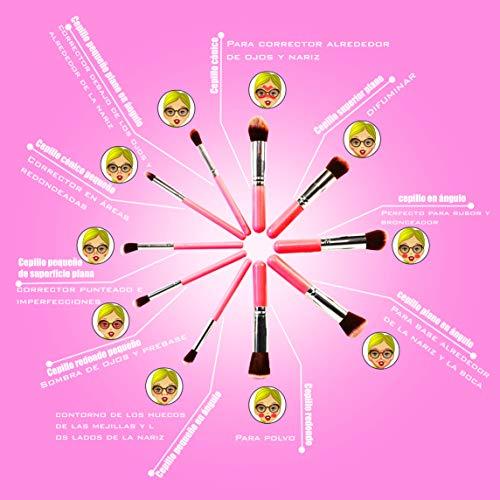 SHAP WOW Espejo Maquillaje con Luz y Brochas de Maquillaje,Espejo de Mesa Rotación 180º Sensor Táctil Carga Usb Espejo Aumento 1x2x3x10x