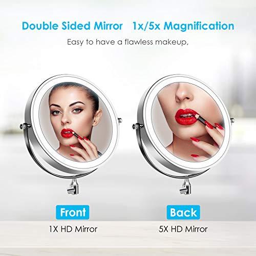 alvorog Espejo de Maquillaje con Luz LED y 1x/5x Aumento Espejos, Espejo de Pared con Doble Cara de 360° Rotación, Luz Ajustable y 0.5h Apagado Automático para Baño, Tocador, Hotel (Plata)