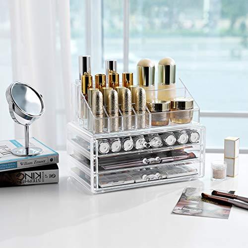 SONGMICS - Organizador de Maquillaje, acrílico, Transparente, 3 bandejas JKA002