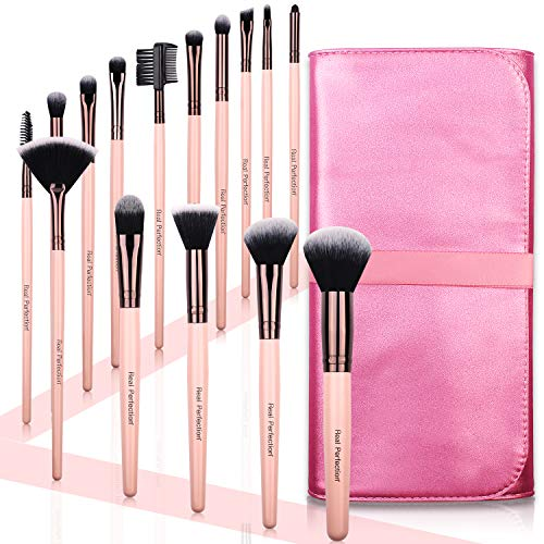 Real PerfectionReal Perfection Juego de brochas de maquillaje, 15 Count, Rosado, 15.00[set de ]