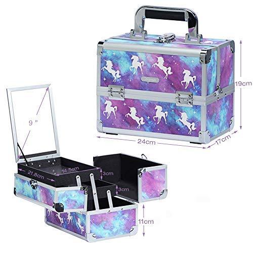 Maletín Maquillaje Profesional Estuche Caja Maquillaje Unicornio Maletín de Manicura Portátil Neceser Organizador de Cosmético con Espejo y Espejo Puntual de Aumento (5X) Regalo para Mujer, Morado