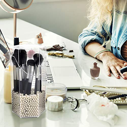 Organizador de maquillaje, organizador de brochas de maquillaje acrílico con un paquete de perlas de almacenamiento de brochas de maquillaje con tapa para cuarto de baño dormitorio (perla blanca)