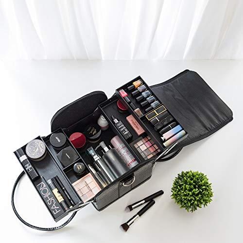 AMASAVA Maletín Maquillaje, Estuche de Maquillaje, Estuche de cosméticos, 29 x 24 x 24 cm, PVC, 4 bandejas, Negro Puro