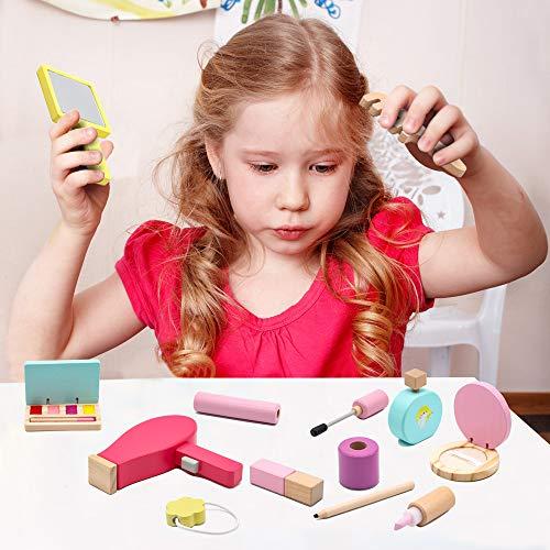 jerryvon Maquillaje Niñas - Juguetes Niños 3 4 5 Años Juguetes de Madera Cosméticos Belleza Maquillaje Infantil Juego de rol 16 Piezas Set de Maquillaje Regalos para NiñosNiñas
