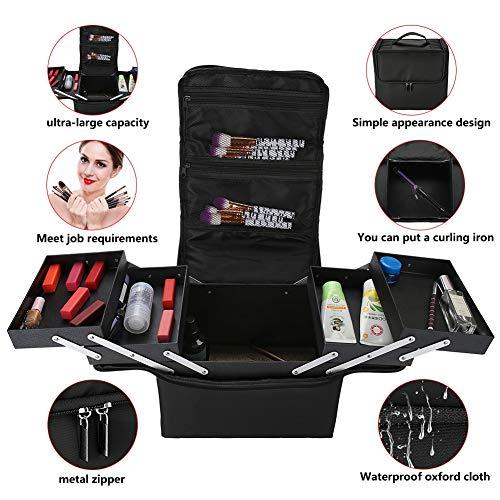Salmue Bolsa Cosmética de Viaje, Mujer Maquillaje Grande 3 Pisos Mochila para Mujer Estuche para Maquillaje Cosméticos Organizador con Divisor, Viaje o Accesorios para el Hogar(4#)