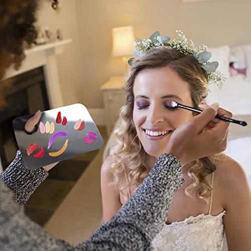 Paletas de Maquillaje Profesional de Acero Inoxidable Paleta de Mezcla de Cosméticos con Herramienta de Espátula para Sombra de Ojos, Lápices Labiales, Arte de Uñas 2 Piezas (Plata)