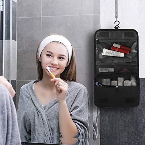 Bolsa de cosméticos, Portátil Bolsa de Maquillaje de Viaje, Bolsas de Aseo Cosméticos Neceser de Plegable Multifuncional para Viaje para Mujeres y niñas, Negro