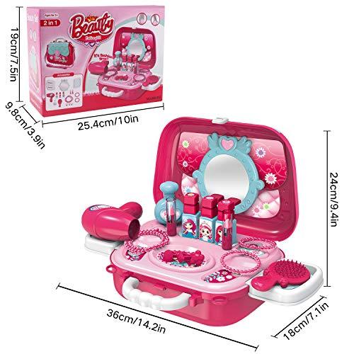Hiveseen 21 PCS Juguete Maquillaje Niñas, Belleza Juguete Set con Princesa Maletin Incluir Peluqueria, Joyería Juguete, Cepillos, Barras de Labios, Espejo para Niñas 2 3 4 5 6 Años