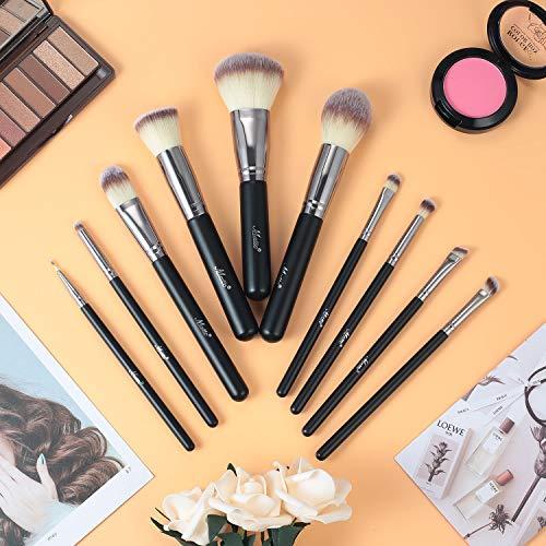 Matto Juego de 10 brochas de maquillaje sintéticas de primera calidad, sin crueldad, para base, colorete, corrector, sombra de ojos