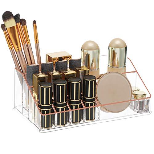SONGMICS Organizador de Maquillaje, Estuche de Cosméticos con3Cajones y 15Compartimentos de Diferentes Tamaños, Transparentey Oro RosadoJKA002T01
