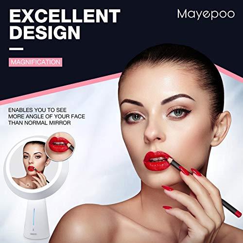 Mayepoo Espejo Maquillaje, Espejo cosmético de Alta resolución con Aumento 5 Veces, lámpara de Mesa de Moda, 3 Modos de luz, Espejo de Maquillaje USB Recargable, Mujeres