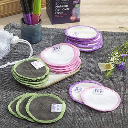Eco Lily® 21 Almohadillas Desmaquilladoras Reutilizables Almohadillas de Bambú de Algodón Lavables para Desmaquillar la Cara y los Ojos con una Bolsa de Lavandería ADICIONAL