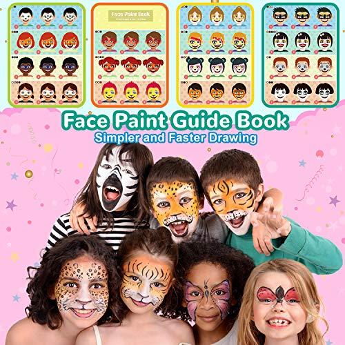 lenbest 17 Colores Pinturas Cara, Pintura Facial con 1 Libro Tutorial de Pintura Facial, 256 Pegatinas de Diamantes de Imitación, 3 Colores Brillos, Maquillaje al Agua para Halloween/Fiestas ect
