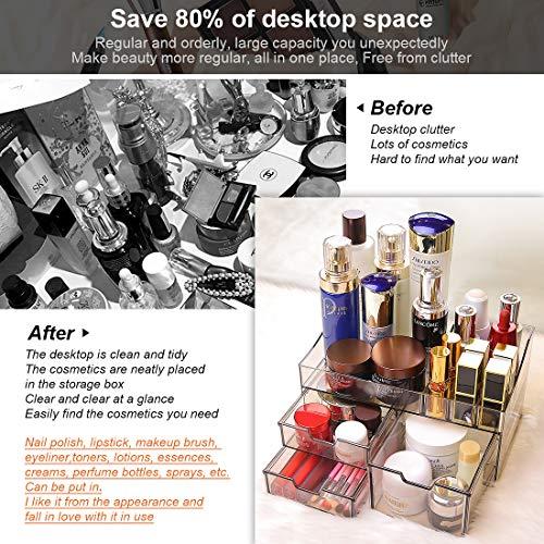 Wonnell ChuJun Cajas de Almacenamiento de Maquillaje,Estuche de Maquillaje con 3Cajones y 11 Compartimentos de Diferentes,Material de protección Ambiental Acrílico