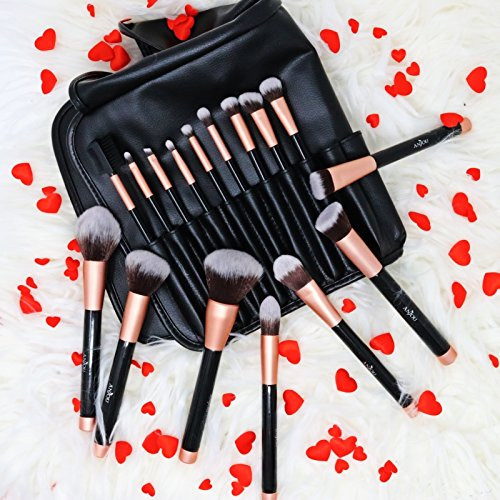 Anjou Brochas de Maquillaje 16 Piezas con Bolsa Rodillo PU, Brochas Maquillaje Cerdas de Fibra Sintética Suaves y sin Crueldad para Ojo,Rubor (Rosa)
