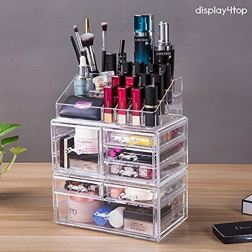 Display4top Caja acrílica Estante de maquillajes Maquillaje Cosméticos Joyería Organizador (7 Drawers Transparente)