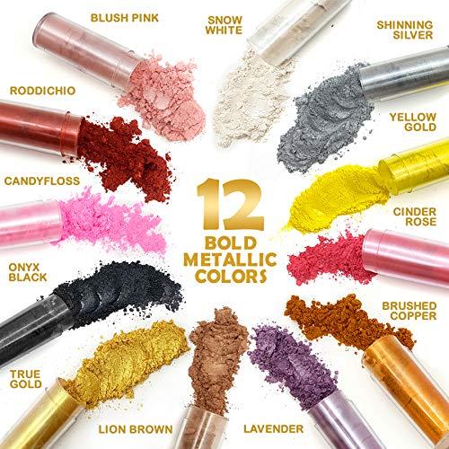 Original Stationery Pigmento Perlado de Mica en Polvo 12 Increíbles Colores Metálicos en Set de Regalos - Fabricación de Jabón, Slime, Bombas de Baño, Maquillaje, Uñas, Resina Epoxi, etc